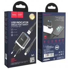 Сетевой адаптер hoco N1 Ardent single port charger set (for Lightning) (EU) - Black