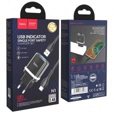 Сетевой адаптер hoco N1 Ardent single port charger set (for Type-C) (EU) - Black