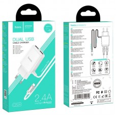 Сетевой адаптер hoco C82A Real power dual port cable charger (for Lightning) (EU) - White