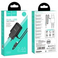 Сетевой адаптер hoco C82A Real power dual port cable charger (for Lightning) (EU) - Black