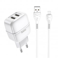 Сетевой адаптер hoco C77A Highway dual port charger set (Lightning) (EU) - White