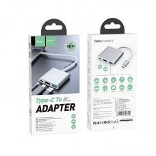 Хаб hoco Type-C HB14 Easy use USB-C на USB3.0 + HDMI + PD - Silver