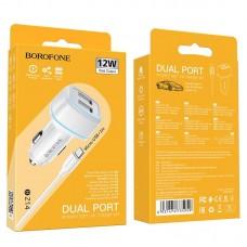 Автомобильное ЗУ Borofone BZ14 Max Micro - White