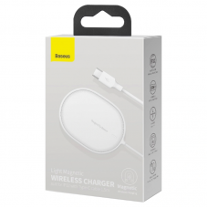 Беспроводная зарядка Baseus Light Magnetic Wireless Charger (suit for IP12 with Type-C cable 1.5m) (WXQJ-02) - White