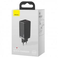 Зарядка Baseus GaN2 Pro Quick Charger 2C+U 65W EU Black (Include:Baseus Xiaobai series fast charging Cable Type-C to Type-C 100W (20V/5A) 1m (CCGAN2P-B01) - Black