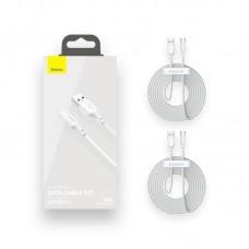 Кабель Baseus Simple Wisdom Data Cable Kit USB to Type-C 5A (2PCS/Set) 1.5m (TZCATZJ-02) - White