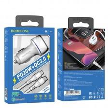 Автомобильное зарядное устройство Borofone BZ14A Mercury PD20 W + QC3.0 комплект с кабелем Type-c to Lightning - White
