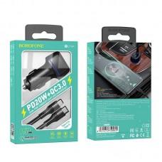 Автомобильное зарядное устройство Borofone BZ14A Mercury PD20 W + QC3.0 комплект с кабелем Type-C to Type-C - Black