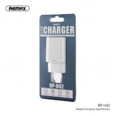Сетевой адаптер Remax Single USB Charger RP-U42 - White